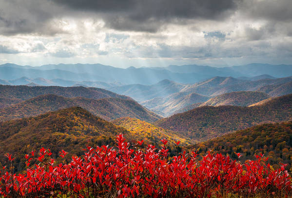 Autumn Print featuring the photograph Blue Ridge Parkway Fall Foliage - The Light by Dave Allen