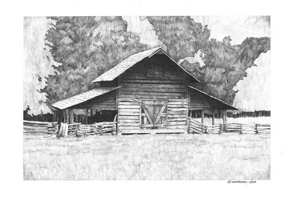 Pen And Ink Print featuring the drawing King's Mountain Barn by Paul Shafranski