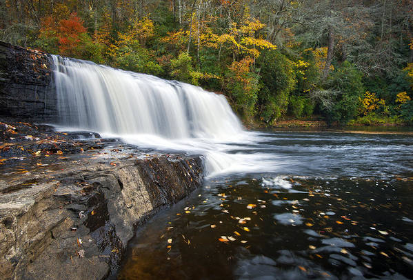 Waterfalls Print featuring the photograph Hooker Falls In Autumn - Fall Foliage In Dupont State Forest by Dave Allen