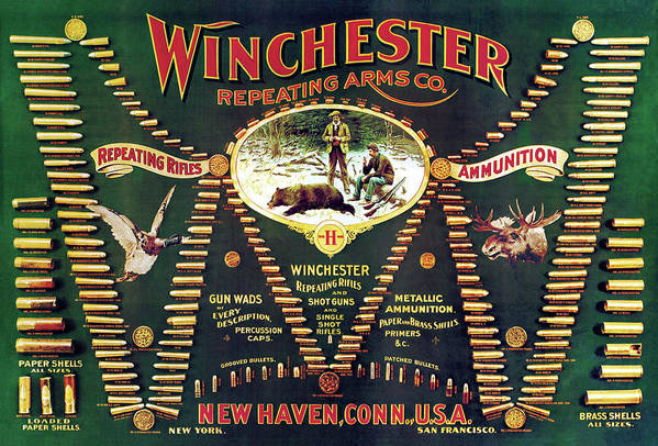 Cartridges Print featuring the painting Winchester Double W Cartridge Board by Unknown