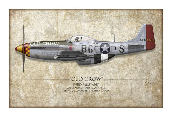 Aviation Print featuring the painting Old Crow P-51 Mustang - Map Background by Craig Tinder