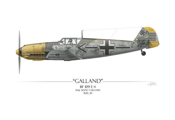 Aviation Print featuring the painting Adolf Galland Messerschmitt Bf-109 - White Background by Craig Tinder