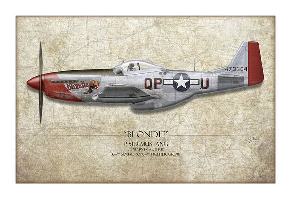 Aviation Print featuring the painting Blondie P-51d Mustang - Map Background by Craig Tinder