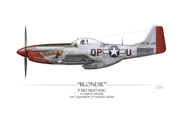 Aviation Print featuring the painting Blondie P-51d Mustang - White Background by Craig Tinder