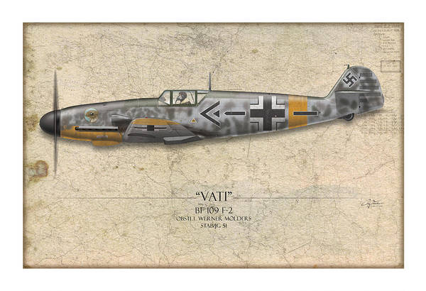Aviation Print featuring the painting Werner Molders Messerschmitt Bf-109 - Map Background by Craig Tinder