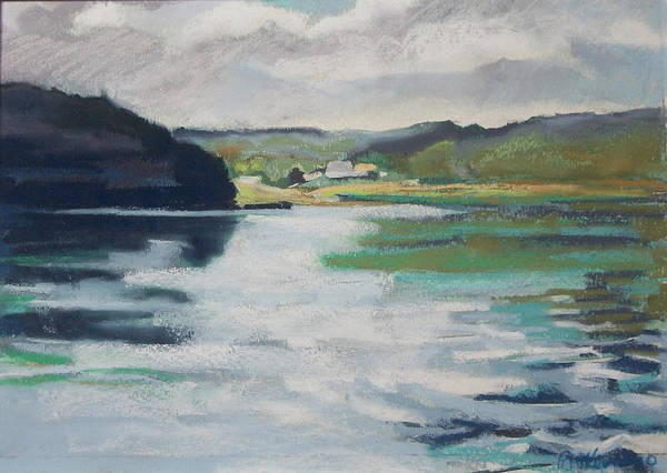 River Bend Print featuring the pastel Just Around The Bend by Grace Keown