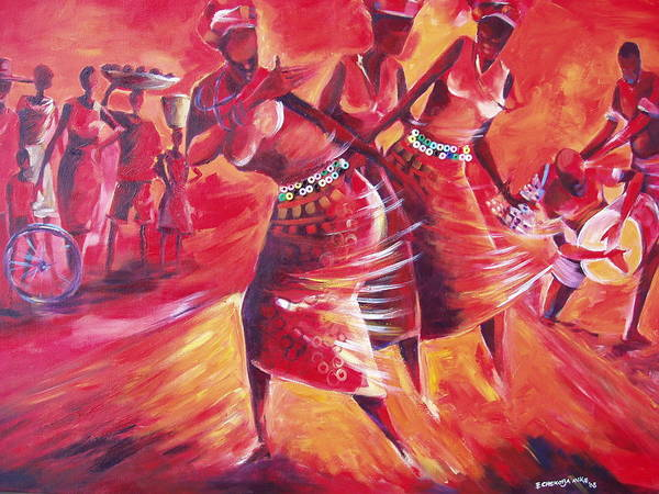 Celebration Print featuring the painting Celeration by Michael Echekoba