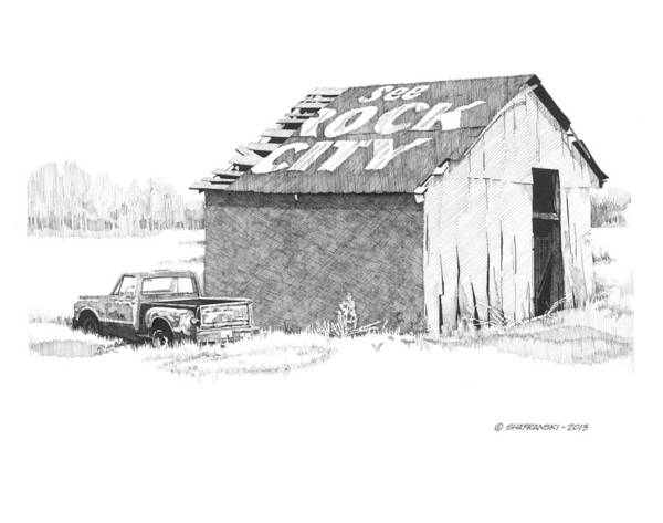 Pen And Ink Print featuring the drawing See Rock City by Paul Shafranski