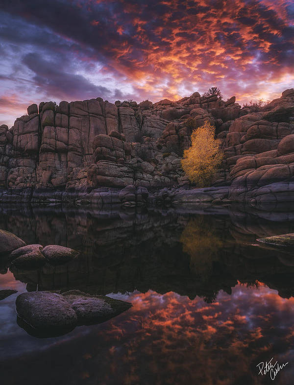 Watson Lake Print featuring the photograph Candle Lit Lake by Peter Coskun