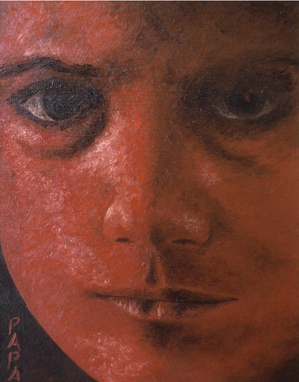 Red Face Print featuring the painting Red Face by Ralph Papa