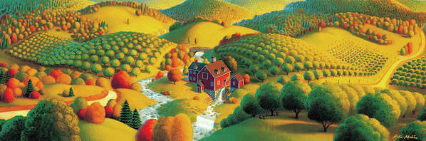 Fall Panorama Print featuring the painting The Cider Mill by Robin Moline