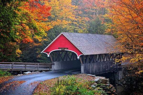 The Flume Print featuring the photograph The Flume Covered Bridge by Thomas Schoeller