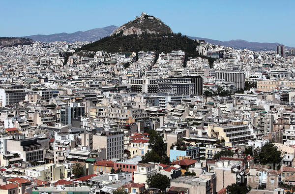 Athens City View Print featuring the photograph Athens City View by John Rizzuto