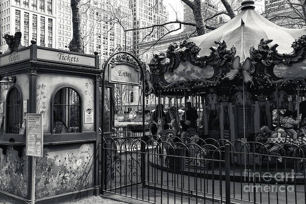 Carousel Tickets Print featuring the photograph Carousel Tickets Mono by John Rizzuto