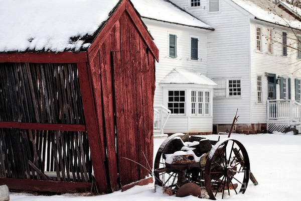 Red Barn In Winter Print featuring the photograph Red Barn In Winter by John Rizzuto