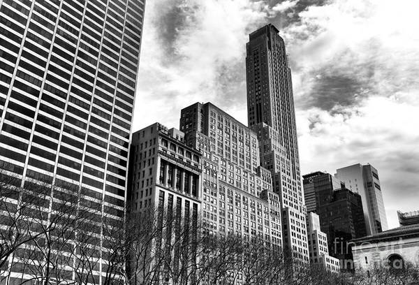 Rising In Manhatta Print featuring the photograph Rising In Manhattan Mono by John Rizzuto
