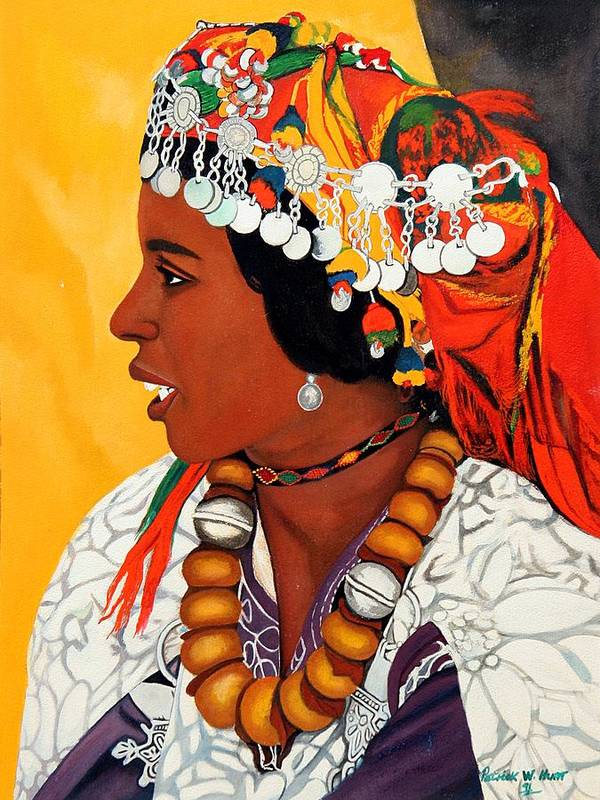 African American Art Print featuring the painting African Beauty by Patrick Hunt