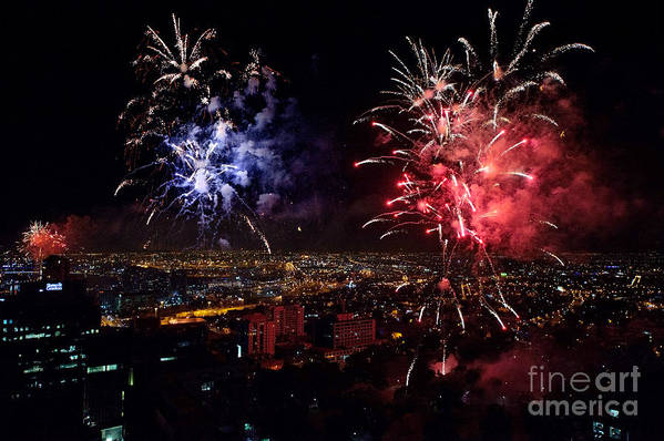 Fireworks Print featuring the photograph Dazzling Fireworks II by Ray Warren