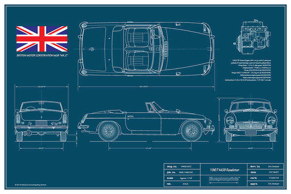 Automotive Print featuring the drawing Mgb Mk.2 Roadster by Douglas Switzer