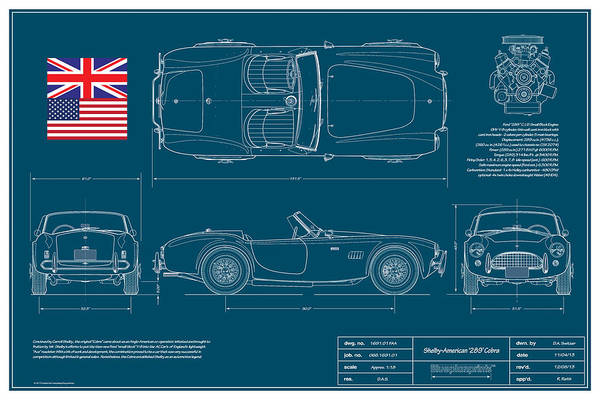 Carroll Shelby Print featuring the drawing Shelby-american 289 Cobra by Douglas Switzer
