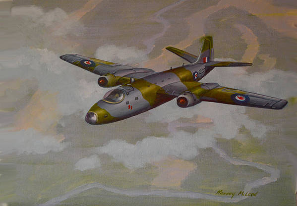 Aviation Art Print featuring the painting Canberra Sortie by Murray McLeod