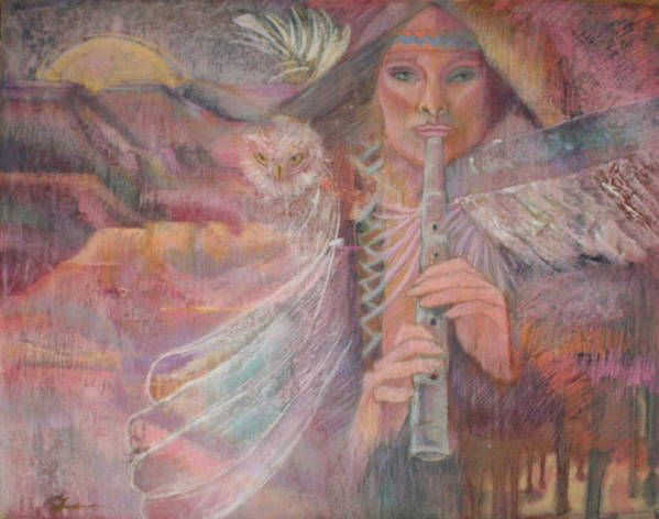 Shamaness With Totum Owl Plays The Sacred Sounds With Her Flute Plateaus Mountions Mooon Owl Feathers Fllute Trees American Indian Lore Impressionistic Symbolic Southwest Colors Pinks Oranges Golds Aquas Red White Pipe Sounds Owls Indian Symbolic Figure The Sacred Dream Time Landscape Music Beauiful Sounds And Color Indian Pamela Pam Pamela Rose Pamela Mccabe Pastel Artist Pastel Paintings Like Degas Cassette Etc. Southwest Art Shaman Print featuring the painting Song Of Our Sacred Dreaming by Pamela Mccabe