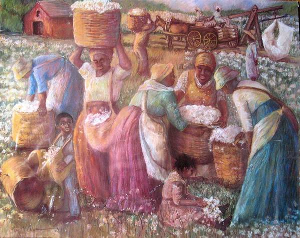 Slaves In Cotton Field African American Slaves Picking Cotton Print featuring the painting Cotton Fields by Pamela Mccabe