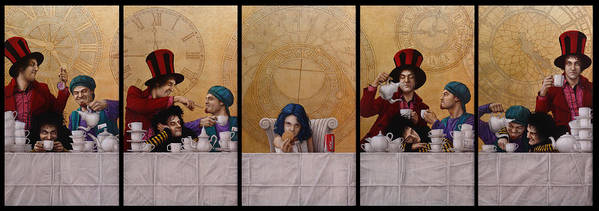 Jose Luis Munoz Print featuring the painting A Mad Tea-party From Alice In Wonderland by Jose Luis Munoz Luque