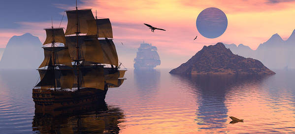 Bryce 3d Scifi Fantasy  Dolphin tall Ship Windjammer \sailing Ship\ Sailing Print featuring the digital art Convoy by Claude McCoy