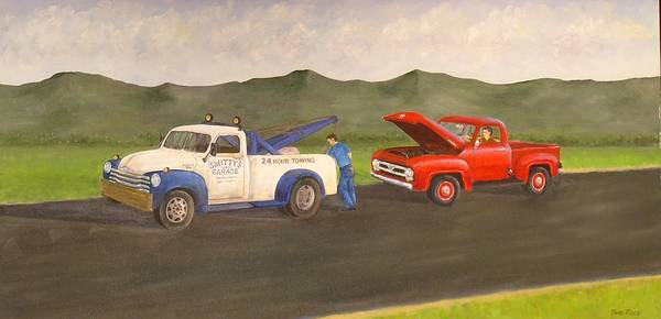 Chevy Tow Truck.ford Print featuring the painting Ford Owner's Nightmare by Tom Rose