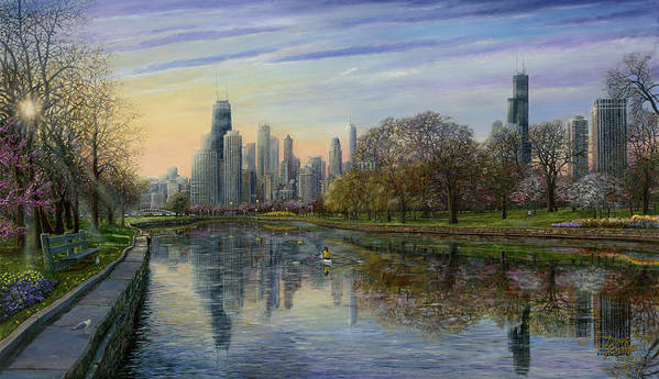 Chicago Skyline Print featuring the painting Spring Serenity by Doug Kreuger
