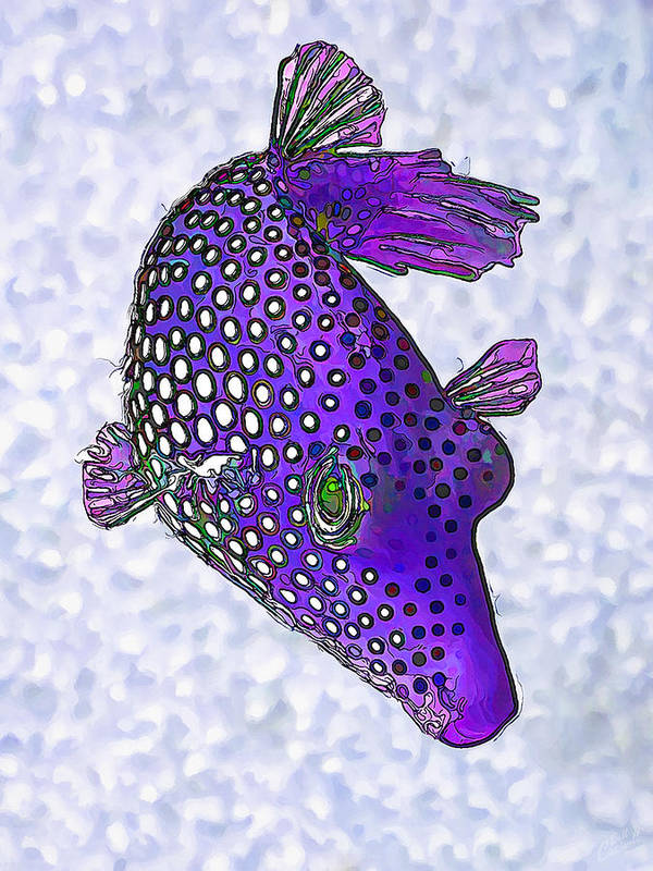 Nature Print featuring the digital art Guinea Fowl Puffer Fish In Purple by Bill Caldwell -    ABeautifulSky Photography