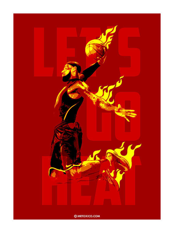 Lb Print featuring the digital art Lets Go Heat by Toxico