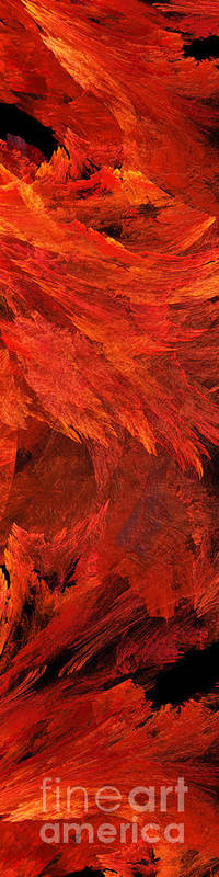 Abstract Print featuring the digital art Autumn Fire Pano 2 Vertical by Andee Design