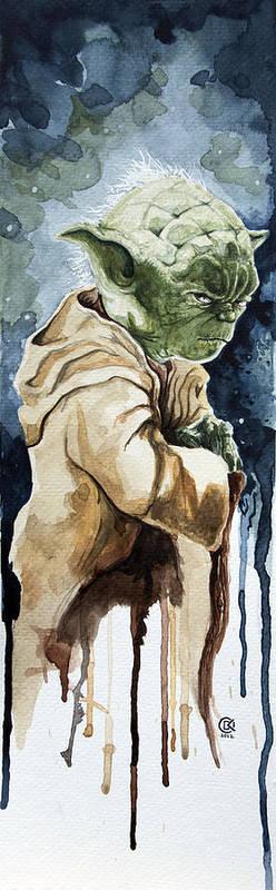 Star Wars Print featuring the painting Yoda by David Kraig