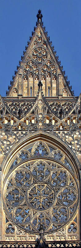 Rosette Print featuring the photograph Rose Window - Exterior Of St Vitus Cathedral Prague Castle by Christine Till