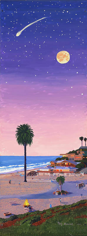Beach Print featuring the painting Moonlight Beach At Dusk by Mary Helmreich