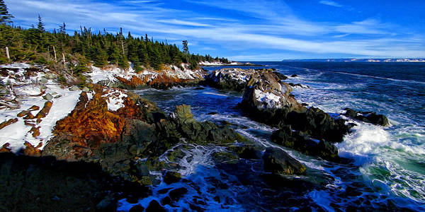 Nature Print featuring the photograph Quoddy Coast With Snow by Bill Caldwell -    ABeautifulSky Photography