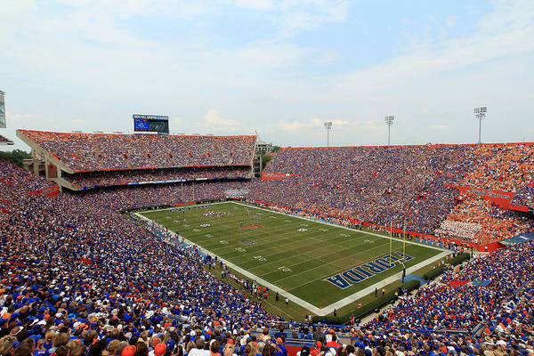 American Football Print featuring the photograph Florida Ben Hill Griffin Stadium On Game Day by Getty Images