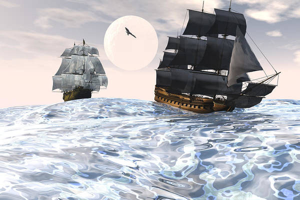 Bryce 3d Scifi Fantasy tall Ship Windjammer \sailing Ship\ Sailing Print featuring the digital art Rough Seas by Claude McCoy