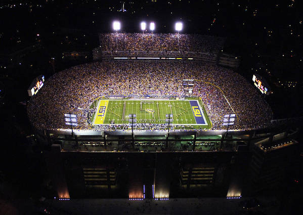 Louisiana State University Print featuring the photograph Lsu Aerial View Of Tiger Stadium by Louisiana State University