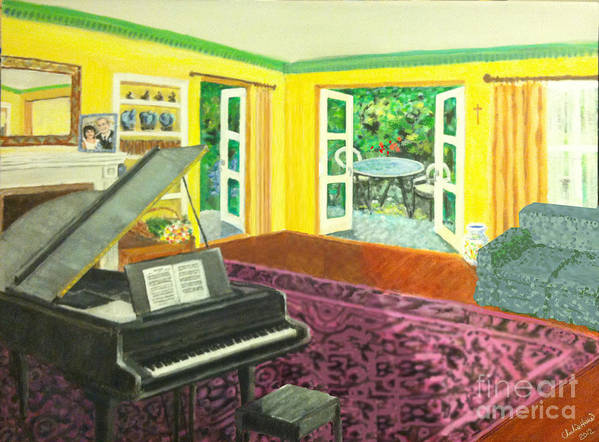 Piano Print featuring the painting Piano Room Variation I by Charlie Harris