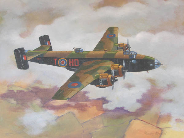 Aviation Art Print featuring the painting Handley Page Halifax by Murray McLeod