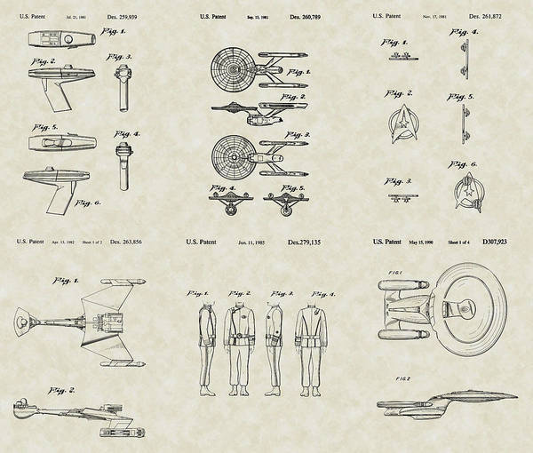 Star Trek Print featuring the drawing Star Trek Patent Collection by PatentsAsArt