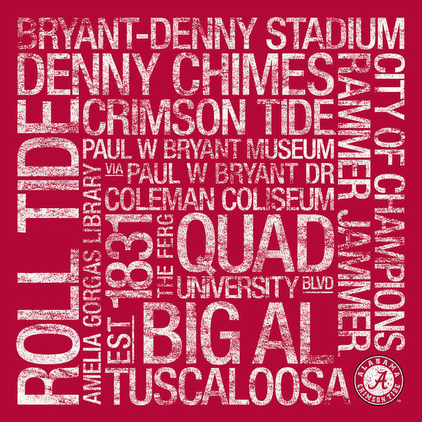 Photo Print featuring the photograph Alabama College Colors Subway Art by Replay Photos
