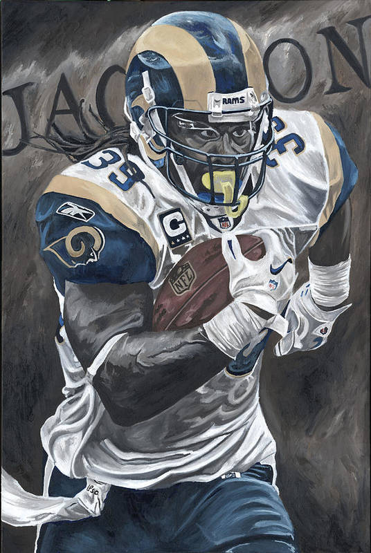 Steven Jackson St Louis Rams Running Back Sports Art David Courson Football Nfl Print featuring the painting Battering Ram by David Courson