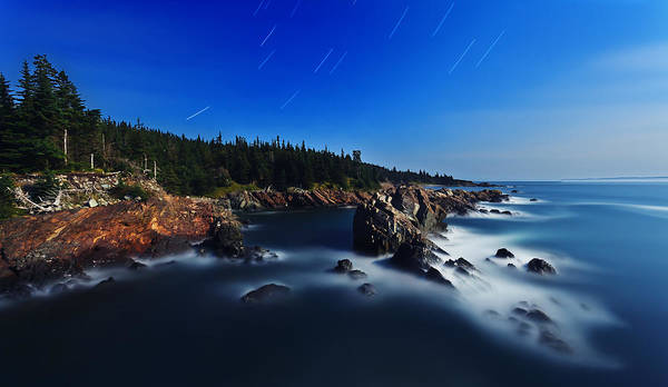 Nature Print featuring the photograph Quoddy Coast By Moonlight by Bill Caldwell -    ABeautifulSky Photography