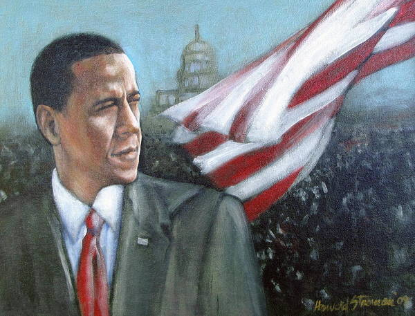 Barack Obama;president;presidential;whitehouse;etc Print featuring the painting Barack Obama by Howard Stroman