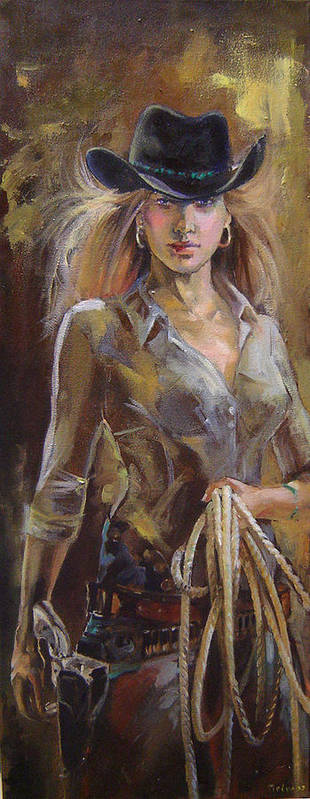 Print featuring the painting Cowgirl by Nelya Shenklyarska
