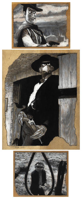 Clint Eastwood Print featuring the drawing The Good The Bad And The Grouchy by Justin Clark